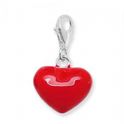 Sterling Silver Red enamelled Puffy heart clip on Charm